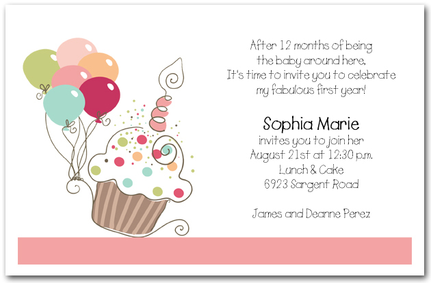 girl 39 s cupcake balloons birthday invitation cupcake
