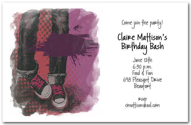 Grunge Girl Blue Jeans Birthday Invitations, Teen Invitations