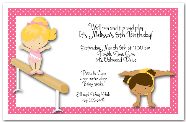 Gymnastic Party Invitations with luxury invitations example