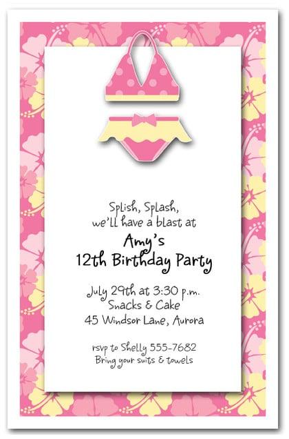 Pink Bikini Invitations Beach Invitations Pool Invitations