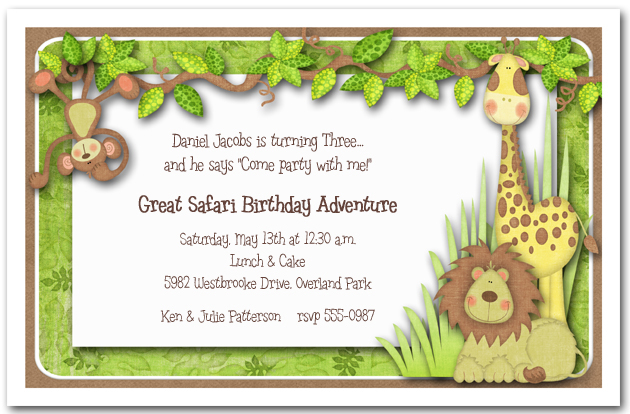 Jungle Hangout Invitations Safari Invitations – Safari First Birthday Invitations