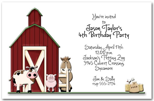 little red barn party invitations, kid's farm birthday invitations, Birthday invitations