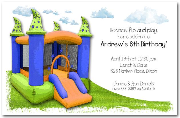 Magic Bounce House Kids Birthday Invitations