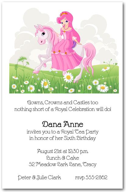 Pink Mane Horse Princess Invitations