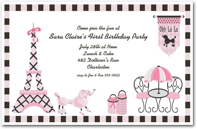 Pink Poodle in Paris Invitation Girls Birthday Invitations – Birthday Invites for Girls