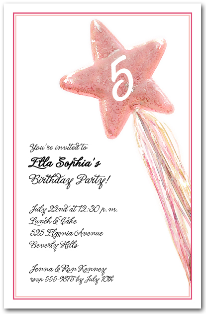 Pink star magic wand birthday party invitations for Birthday wand