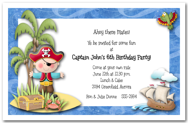 Pirate Party Invitations, Kid's Pirate Birthday Party Invitations