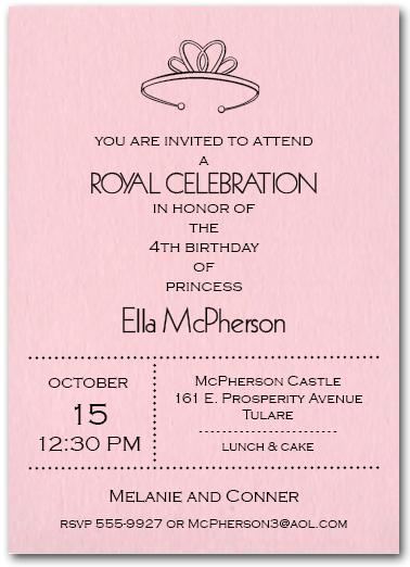 princess tiara on pink birthday party invitations, Birthday invitations
