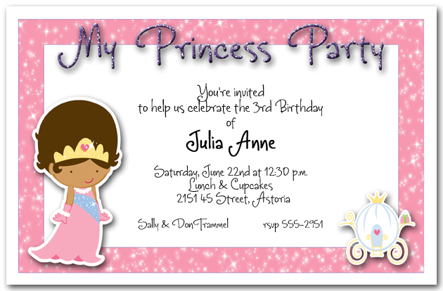 Ethnic Princess Party Invitation Princess Birthday Party Invitation – Disney Princess Birthday Invitation Wording