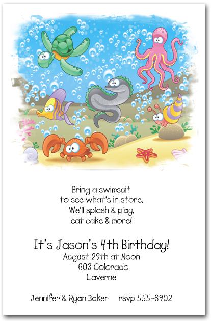 Sea Life Party Invitations – Ocean Party Invitations