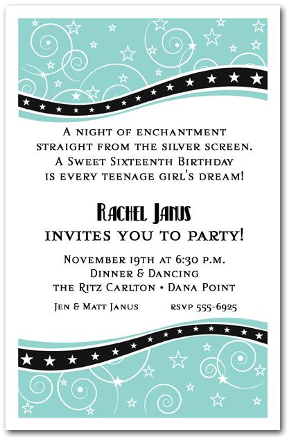 Swirls and Stars Tiffany Blue Party Invitations – Tiffany Blue Birthday Invitations
