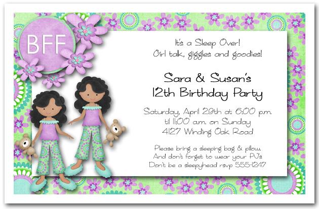 Ethnic Girl Twins Pajama Party Invitations – Twin Birthday Invites