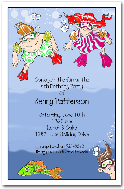 Underwater Swim Kids Party Invitations Swim Party Invitations – Childrens Party Invitations