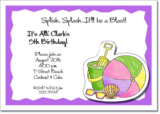 pastel beach kids party invitations, beach invitations, pool, Party invitations