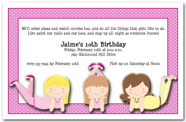 Sleepover Girls Party Invitations Sleepover Birthday Invitations – Sleepover Birthday Party Invitations