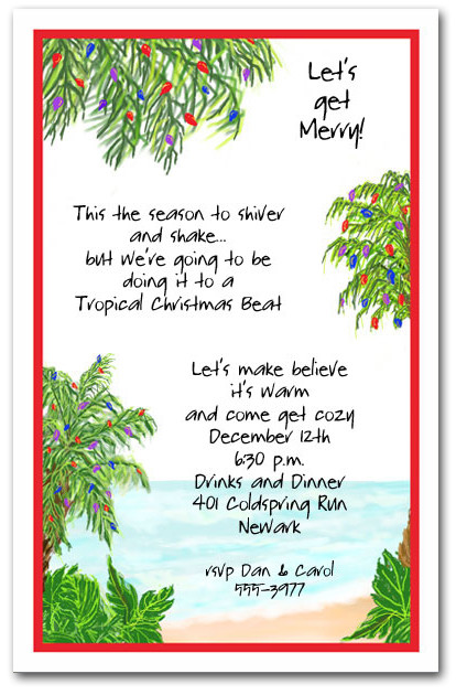 Tropical Holiday Beach Party Invitations Christmas Invitations