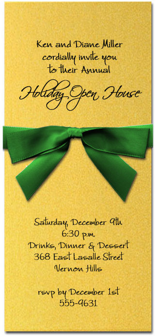 Shimmery Gold Invitation & Green