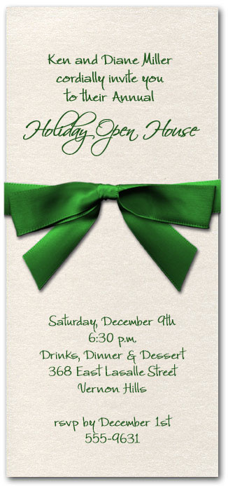 Shimmery White Invitation & Green