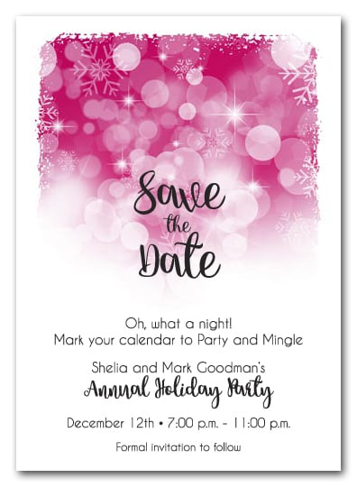 Snowflakes on Hot Pink Holiday Save the Date