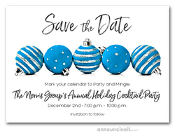 Blue Ornaments Holiday Save the Date