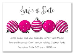 Hot Pink Ornaments Holiday Save the Date