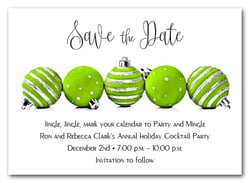 Lime Green Ornaments Holiday Save the Date