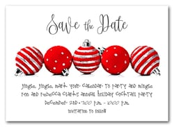 Red Ornaments Holiday Save the Date
