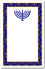 Menorah on Navy & Gold Swirls
