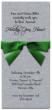 Shimmery Silver Invitation & Green
