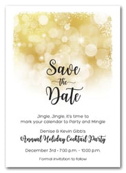 Snowflakes on Gold Holiday Save the Date