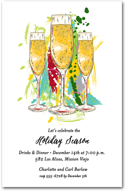 Abstract Holiday Champagne Glasses Party Invitations – Champagne Party Invitations