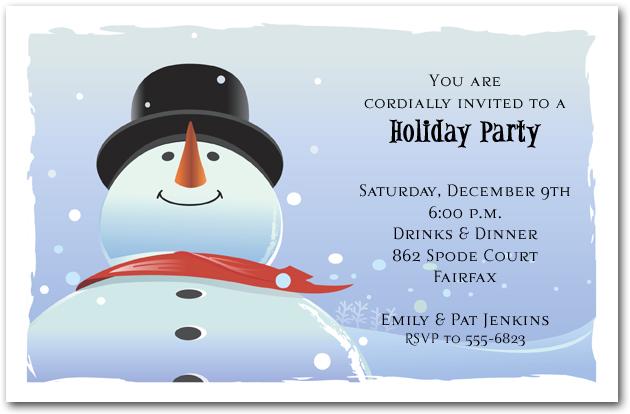 Big Dan the Snowman Holiday Invitation Christmas Invitations – Winter Party Invitation