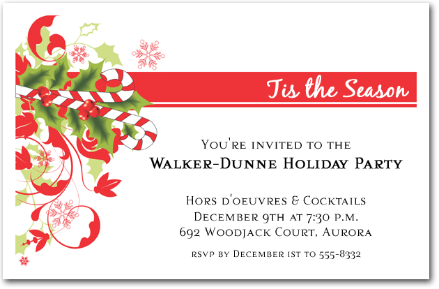 candy cane and swirls holiday invitations christmas invitations. Black Bedroom Furniture Sets. Home Design Ideas