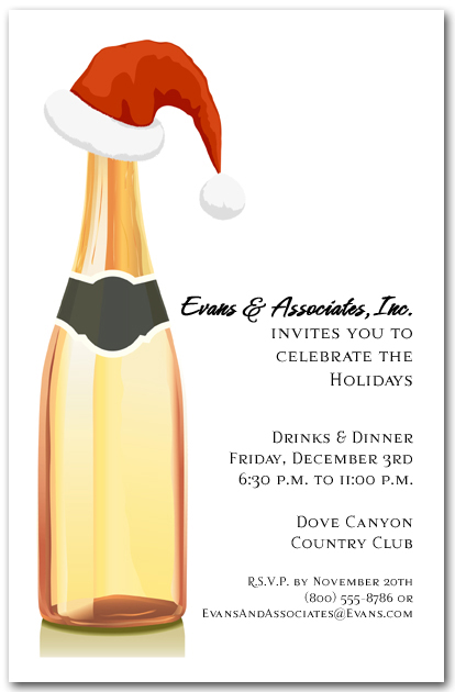 Champagne and Santa Hat Holiday Invitations Christmas Invitations – Hat Party Invitation