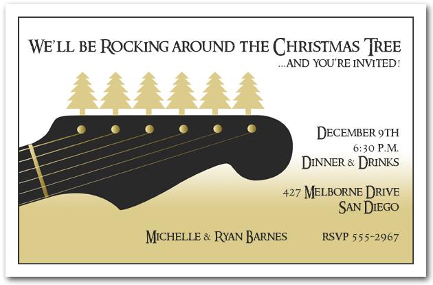 Guitar Rock Christmas Invitation