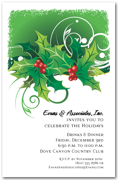 Sprigs of Holly Holiday Invitations, Christmas Invitations