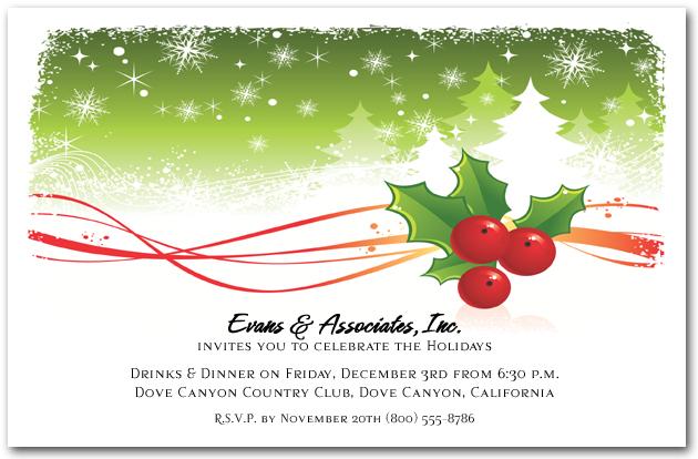 Holly and Snowy Pine Trees Holiday Invitations, Christmas Invitations