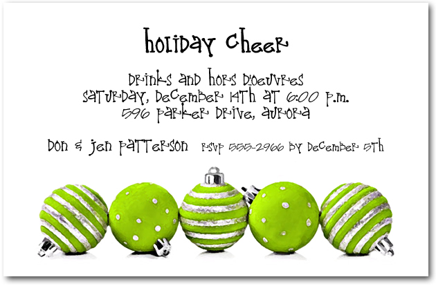 Silver & Lime Ornaments Holiday Invitations, Christmas ...
