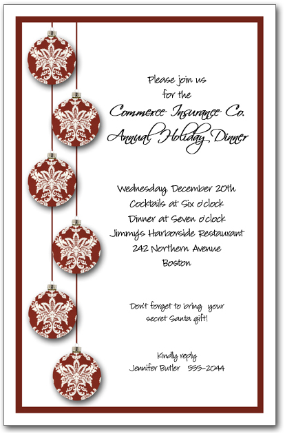 Red Toile Christmas Tree Ornaments Invitation Holiday Invitation – Business Holiday Party Invitations