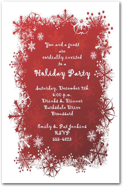 Snowflakes on Red Holiday Invitation, Christmas Invitations