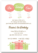 Pink and Green 1st Birthday Presents & Balloons Invitation