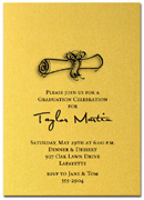 Graduation: Diploma on Shimmery Gold invitations with matching envelopes