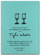 Wine Glasses on Shimmery Teal invitations with matching envelopes