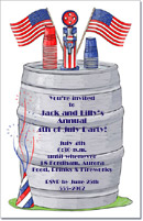 4th of July Beer Keg Party Invitation