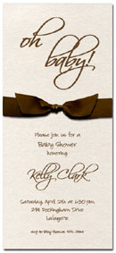 Shimmery Quartz White Baby Shower invitation with Brown Bow & matching envelopes