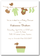 Green & Brown Baby Laundry Line Baby Shower Invitation