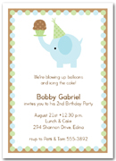 Blue Elephant & Cupcake First Birthday Party Invitations