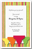 Margaritas on Bright Stripes Party Invitation