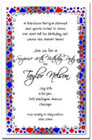 Metal Squares~Metal Squares~Silver/Blue/Red party invitation, birthday party invitations, mardi gras
