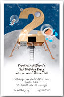 Moon Landing Second Birthday Party Invitation